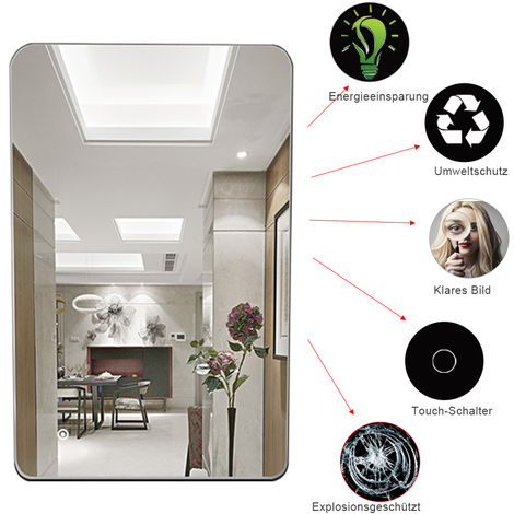 Miroir Salle De Bain Illuminé LED Lumière Capteur + Demister 50 x 70cm