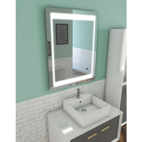 Miroir salle de bain LED auto-éclairant CHRONOS