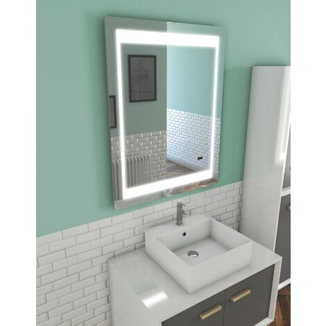 Miroir salle de bain LED auto-éclairant CHRONOS 70x90cm - MIR012