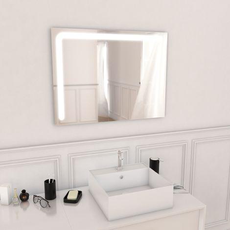 Miroir salle de bain LED auto-éclairant CORNER 80x60cm