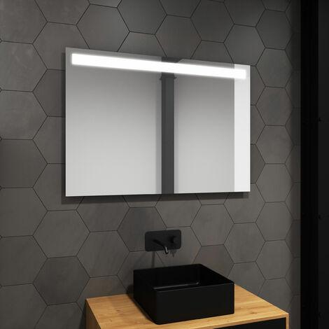 Miroir salle de bain LED auto-éclairant HIGH LINE 80x60cm