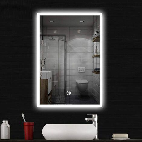 Miroir Salle de Bain LED Miroir Mural Miroir Maquillage Lampe avec Interrupteur Tactile Lumière 3Couleurs Applique Murale 60x80cm [Classe énergétique A+]
