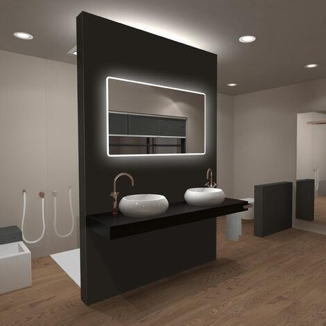 """main image of """"Miroir salle de bain LED rectangulaire auto-éclairant 120x70cm - Ulysse LED 120"""""""