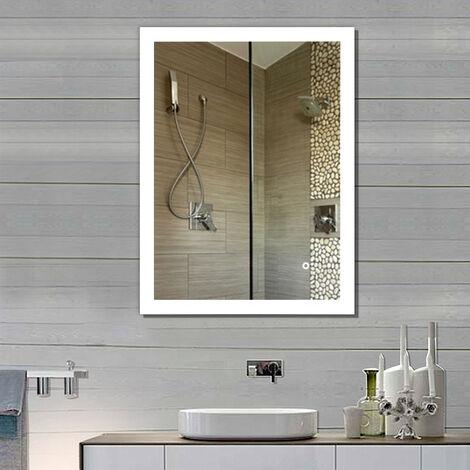 Miroir Salle de Bain Miroir Mural 70*50CM, Miroir Argenté Sans Cuivre, Nouvelle Génération Anti-Brouillard Bouton Tactile