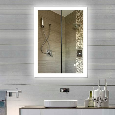 Miroir Salle de Bain Miroir Mural 90*70CM en Mercure Nouvelle Génération Anti-Brouillard Bouton Tactile