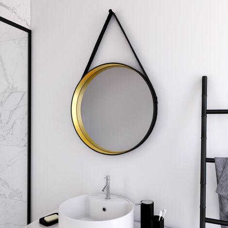 Miroir salle de bain rond type barbier - diamètre 50cm - BARBER