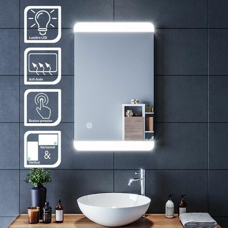 Miroir simple de salle de bain 80x50 CM miroir de salle de bain anti-buée avec lumière led miroir cosmétique miroir led avec commande par effleurement