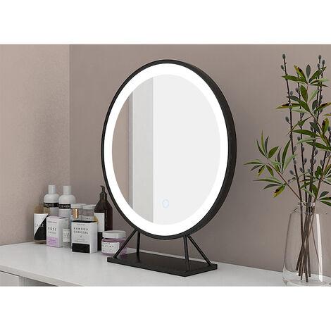 Miroir simple de salle de bain,40*40cm,Tricolore Dimmable,Miroir de maquillage rond