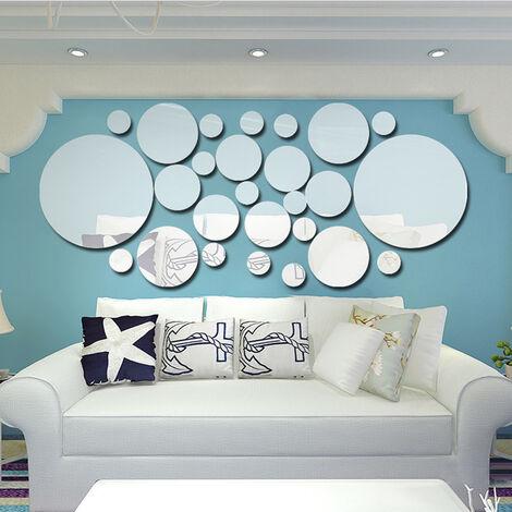 Miroir Sticker Mural 3D Dot Cercle Cercle Salon Chambre TV Fond Decoration Murale Miroir Autocollant Argent