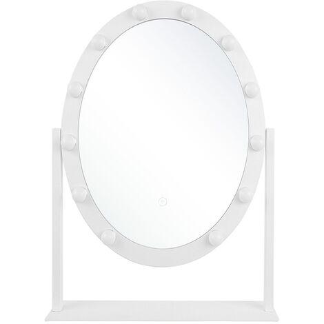 Couleurs au Choix: Blanc Miroir de Chambre CLP Miroir sur Pied CORA Ovale sur Pied avec Cadre en Bois Miroir Cosm/étique Inclinable Taille 150 x 60 cm
