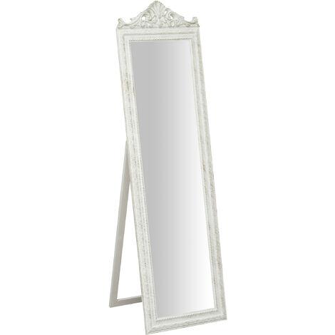 Miroir sur pied avec finition blanc antique CON GRECA