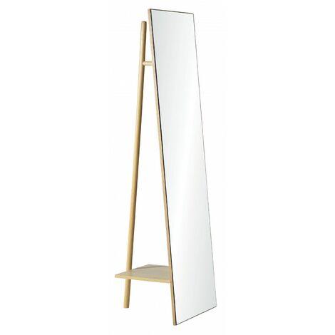 Miroir sur Pied avec Portant et Étagère - Miroir Portant H160 cm LIAM