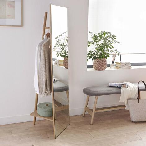 Miroir sur Pied avec Portant et Étagère - Miroir Portant H160 cm LIAM - Bois Clair