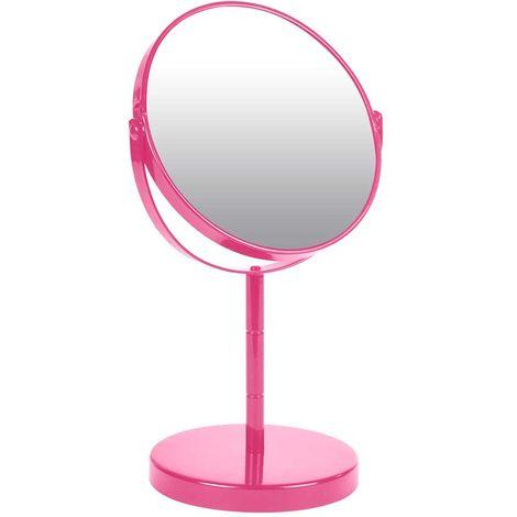 miroir sur pied grossissant x1 x2 en m tal color fuchsia. Black Bedroom Furniture Sets. Home Design Ideas