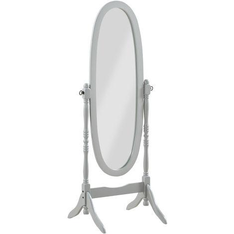 Miroir sur pied, Psyché, miroir oval en bois gris et inclinable - Dim : L 59 x P 49.5 x H 150 cm