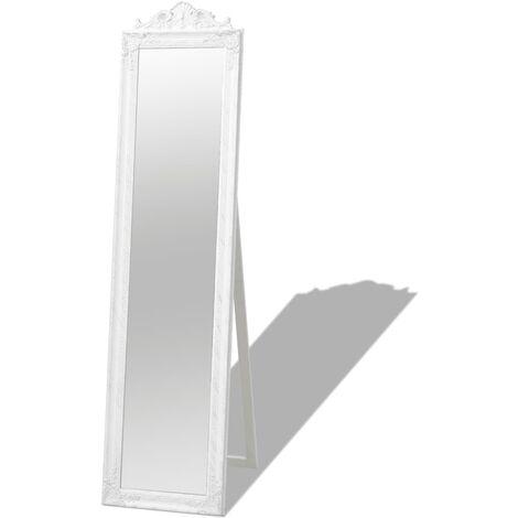 Miroir sur pied Style baroque 160 x 40 cm Blanc