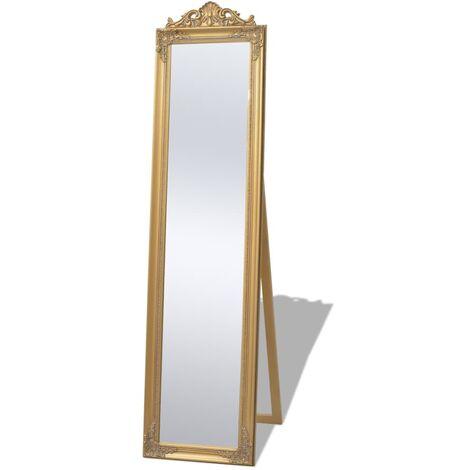 Miroir sur pied Style baroque 160 x 40 cm Doré