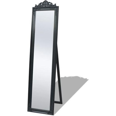 Miroir sur pied Style baroque 160 x 40 cm Noir