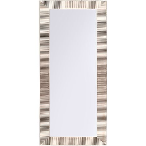 Miroir suspendu rectangulaire avec cadre argenté au style moderne