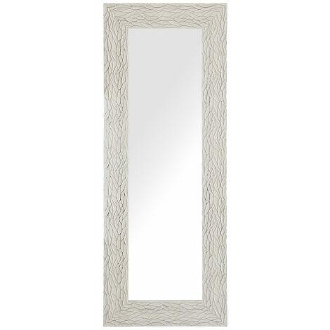 Miroir suspendu rectangulaire avec cadre crème et argenté au style moderne