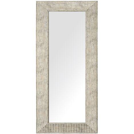 Miroir suspendu rectangulaire avec cadre doré au style moderne