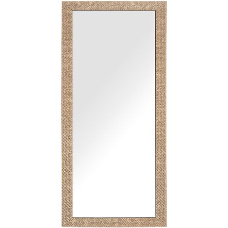 Miroir suspendu rectangulaire avec cadre doré brillant au style moderne