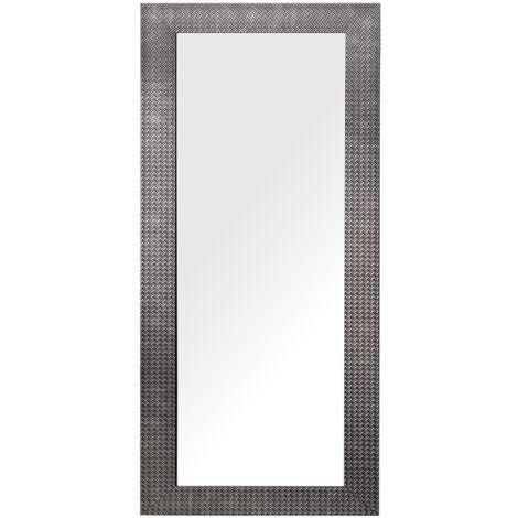 Miroir suspendu rectangulaire avec cadre marron au style moderne