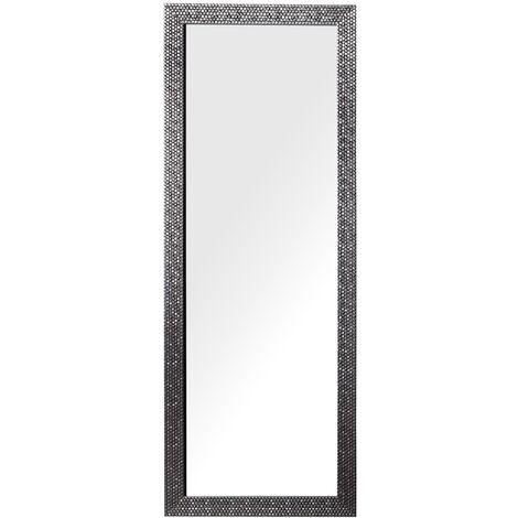 Miroir suspendu rectangulaire avec cadre marron clair brillant au style moderne