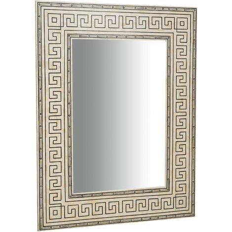 Miroir suspendu vertical/horizontal en bois et os de chameau L124xPR4XH163 Cm