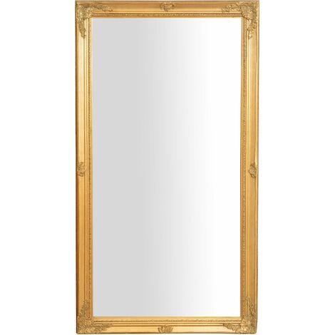 Miroir Mural à accrocher suspendu vertical/horizontal L72xPR3xH132 cm finition or antique