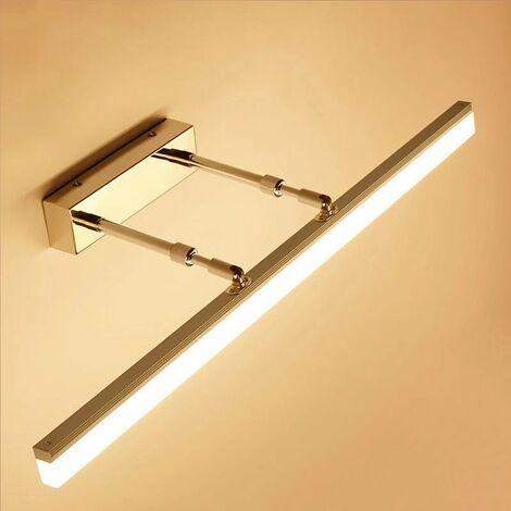 Miroir télescopique armoire miroir lumière avant LED salle de bain salle de bain lumière Simple moderne anti-buée miroir de maquillage doré lumière