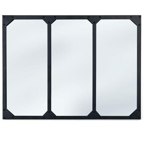 Miroir verrière 3 bandes design industriel 80X60 cm