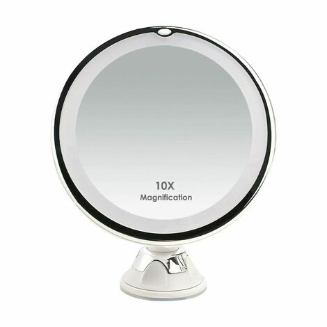 Miroirs Grossissant x10 Miroir Maquillage Lumineux LED de Voyage avec Ventouse Miroir Grossissant Mural Rotation à 360°Miroir a Poser Idéal pour Rasage et Maquillage