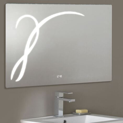 Mirror 203 With IR Switch LED Clock & Demister - By Voda Design