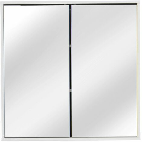 Mirror Cabinet Wall Cabinet Cupboard Shelf Storage 60 * 60 * 14.5cm - Blanc