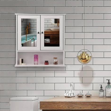 Mirror cabinet white with shelf for the bathroom