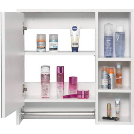 Mirror cabinet with six shelves with door in white