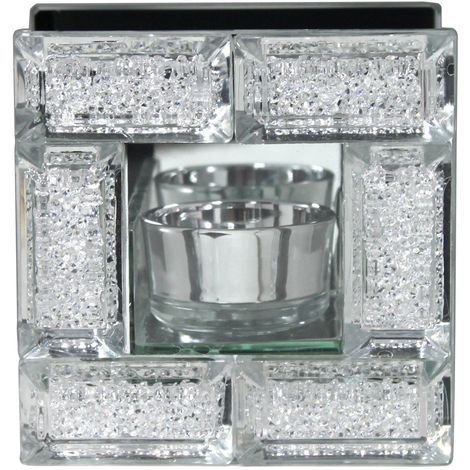 Mirror Crystal Block Single Tealight Candle Holder - Perfect Gift - Big Living
