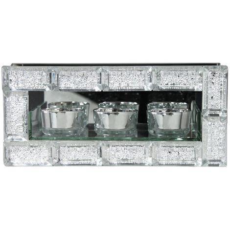 Mirror Crystal Block Triple Tealight Candle Holder - Bedroom Decor - Big Living