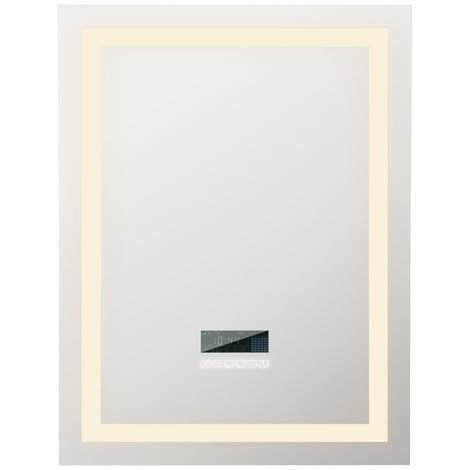 Mirror Dimmable Bluetooth Intelligent Dimmable Contrôle Tactile Illuminé 60×80 Salle de Bain Miroir LED Wall Mirror