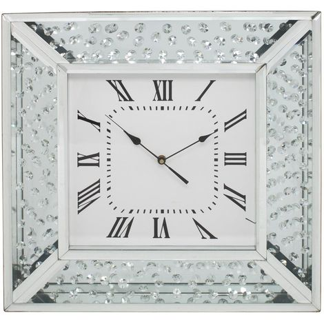 Mirror Floating Crystal Wall Clock Living Room Home Decor
