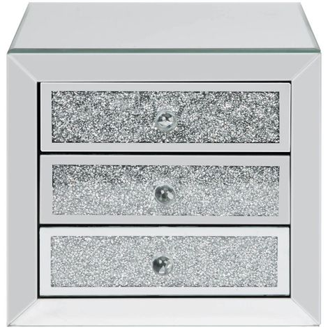 Mirror Glass & Crystal 3 Drawer Jewellery Box