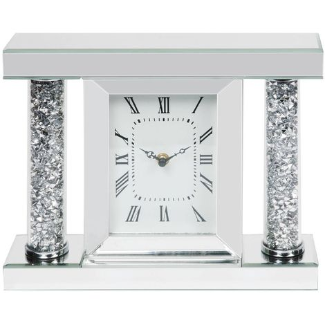 Mirror Glass & Crystal Mantel Clock