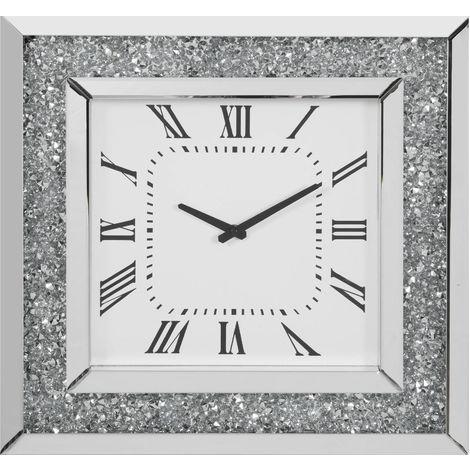 Mirror Glass & Crystal Wall Clock 51cm