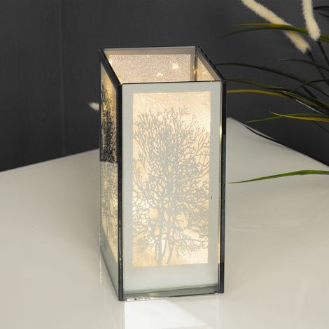 Mirror Glass Tree Design Box with LED Lights 8cm x 18cm