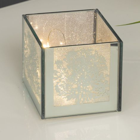 Mirror Glass Tree Design Box with LED Lights 8cm x 8cm