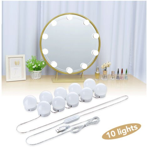 """main image of """"Mirror Light, 10 Hollywood Bulbs Light Light Kit Dimmable Cosmetic Mirror Lamp Bathroom 3 Colors 10 Luminosity Levels with Adapter (Mirror Not Included)"""""""