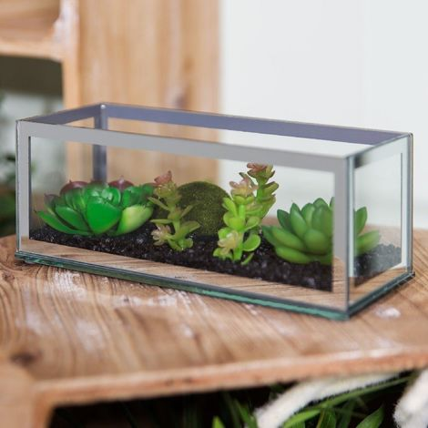 Mirror Terrarium with Artificial Succulents 20 x 8cm