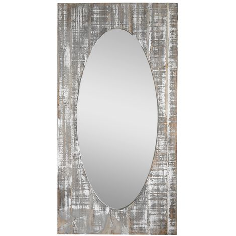 Mirror Wall mirror Bathroom mirror Country house Wooden frame Brown Angled