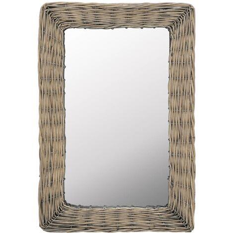 Mirror Wicker Brown 40x60 cm